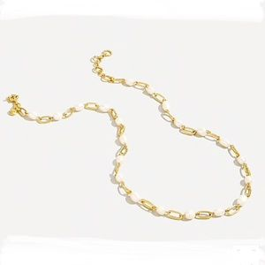 J. Crew NTW Pearl and Goldtone Chain Necklace